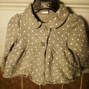Grey & White Polka Dot Raincoat Style Jacket